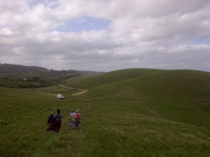 SK and our three companions walking down the hill from which we viewed where the ship is believed to have sunk.