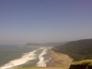 A view from Noqhekwana village, looking out on to the sea. Just around the corner is Mzimvubu River.
